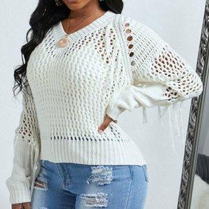 Женский сплошной цвет свободного вязаного свитера Top Sexy Pollow Tassel Pullover Plus Размер Женская одежда Основная одежда