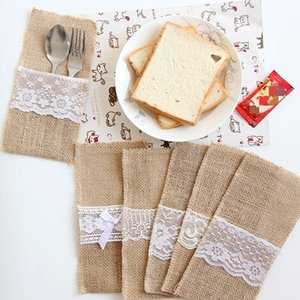 European style Christmas Wedding Decoration linen bag tableware bag lace knife fork Dinnerware bag Other Dinnerware T2I51447
