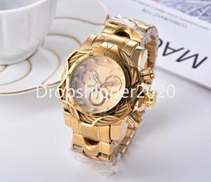 Reloj invicto Moda Hombres de Lujo Relojes de cuarzo Calendario Cronógrafo Impermeable Reloj multifunción Correa de acero inoxidable Reloj de Hombre