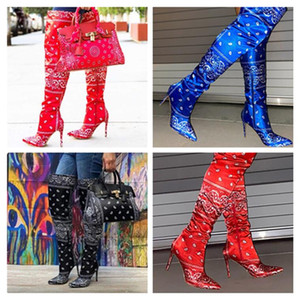 Womens Knee-high Boot Ladies Over Thigh High Boots Winter Stiletto Heels Boots Zipper Pointed Toe Heel Party Designer Shoes Boots F112301