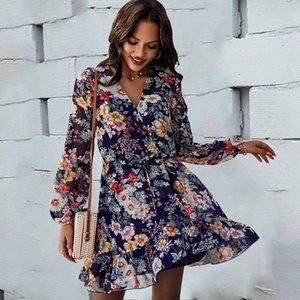 Повседневные платья Элегантные V-шеи с длинным рукавом напечатанные платье весна лето 2021 для женщин пляжный стиль шифон a-line ruffles mini