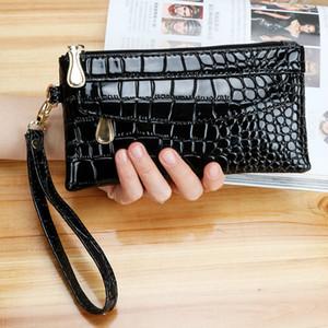 Women's Saro Long Wallet, Double Zipper, Handbag, Red Crocodile Design Purse