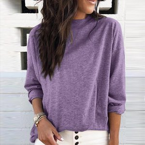 Womail purple women s blouses Long Sleeve Fashion O Neck Solid Color womens shirts Casual Loose Topsblouse Camisa das mulheres