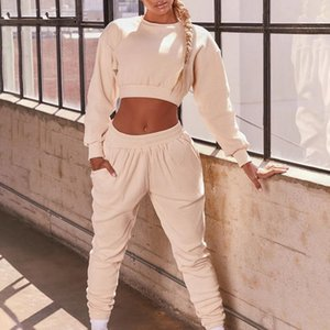 Jodimitty Women Two Piece Set Top And Pants Cropped Hooded Hoodies With Elastic Waist Jogger Pant Solid Casual Ladies Tracksuits