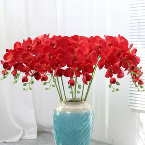 9Heads Artificial Flowers Real Touch Artificial Moth Orchid Butterfly Orchid for New House Home Wedding Festival Decoration