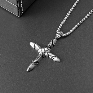 Free shipping Hip Hop Fashion Chain Punk Necklace Men Gifts Jewelry Men Cross Pendant Necklace Design Stainless Steel 60cm Long