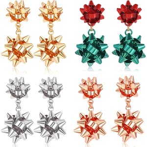 Cross-border Hot-selling Christmas Earrings Simple Metal Creative Fashion Three-dimensional Bow Lady Earrings
