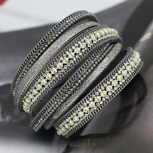 Vonnor مجوهرات متعدد الطبقات الجلود سوار سلسلة الخرز اللفات التفاف أساور أساور ل فام بنات هدية