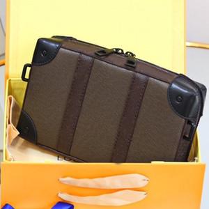 Soft Trunk Box Bag Cow Leather Shoulder Bag L Letter Old Flower Handbag Zipper Wallet Long Belt Shoulder Bag Package with folded Gift box