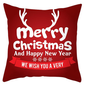 New Free Shipping Christmas Pillowcase Red Letters Snowflake Santa Clause Pillow Cover Square Pillow Accessories for Home Case
