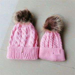 Pai-criança espreitedros de inverno família bebê crianças chapéus chapéus de malha chapéu designers chapéu de crochê de esqui com pom pom malha cancelando tampões de caveira d121003