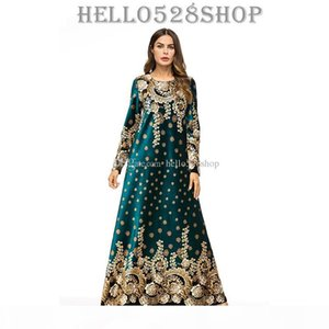 Autumn Winter Gorgeous Green Printed Muslim Long Kaftan Abayas Dresses for Women Moroccan Robes Gown