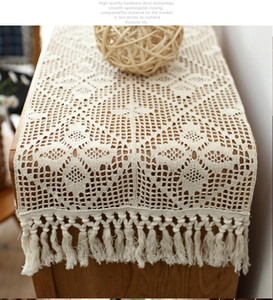 American table flag Cotton crochet vintage tablecloth tablecloth cover cabinet towel cream-colored hollow out table flag