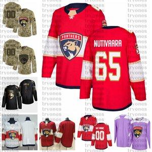 2021 Customize # 65 Markus Nutivaara Florida Panthers Jerseys Golden Edition Camo ветеранов день борется с раком на заказ сшитые хоккейные изделия