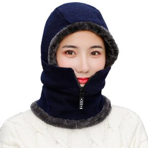 New Winter Knitting Hats Unisex More Fleece Thick Cycling Beanies Skullies Hat Men WOmen Wool Dustproof Bib Warm Velvet Caps