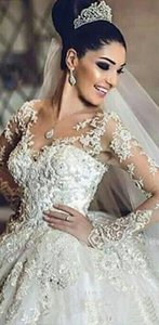 2021 Luxury Middle East Lace Ball Gown Wedding Dresses Appliques Lace Crystals Beaded Illusion Long Sleeves Formal Gowns Bridal Dress