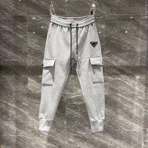 Pantalones de los 20s de los Pantalones de moda de los hombres Europa Pantalones de tendencia de moda para hombres Classic Lattice Webbing Pareja Tela de Terry con Pantalones de costura de celosía