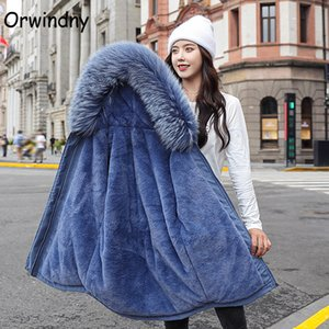 Orwindny Winter Coat Women Thickening Warm Wool Lining Parkas Snow Wear Slim Fashion Female Jacket Plus Size 3XL Padded Clothes 201118