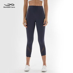 Mermaid Curve Summer New Style Yoga Pants Women High Waist Mesh Patchwork Tight Running Legging Calf-Length Fitness Leggings