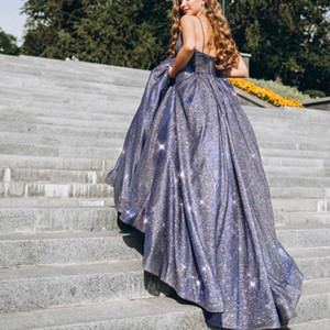 UZN New Arrival Glitter A-Line Grey Prom Dresses Sexy V Neck Floor Length Evening Dresses 2021