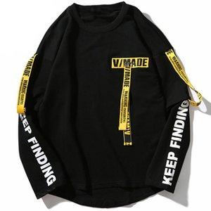 Hip Hop Pullover Felpa uomo 2021 Casual Ribbon Felpa T-Shirt T-shirt a maniche lunghe in cotone T-shirt Top Tee