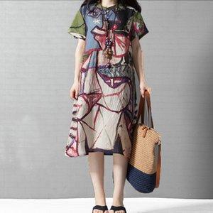 Supermiss Mulheres Resumo de Verão Impressão Baggy com bolsos Midi Sun Plus Size Tunic