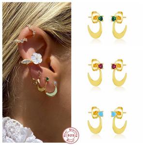 Aide Machete Shape Crystal Stud Earrings For Women Small Moon Circle Zircon Ear Stud 925 Sterling Silver Piercing Pendientes