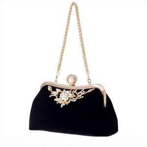 Evening Bags Female Diamond Pearl Handbag Vintage Crystal Flower Evening Bag Wedding Party Bride Clutch Bag Purse Black