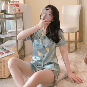 FallSweet Summer Pajamas Set for Women Short Printed Sleepwear Cute Silk Pyjamas Two Piece Set W1225