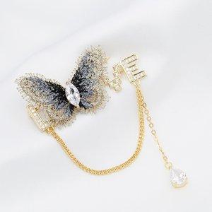 Korean fashion luxury butterfly letter brooch jewelry temperament women inlaid zircon 18k gold plated brooch sweater coat brooch accessories