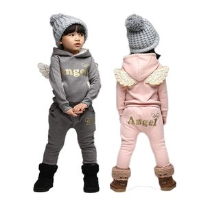 V-TREE Children Clothing Set Fleece Sports Suit For Boy Winter Toddler Suits For Girls Wings Kids Tracksuit Baby School Costume Y1113