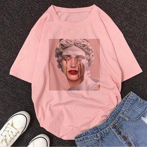 A Person Crying David Michelangelo T Shirt Statue Print Fun Vintage Harajuku Tshirt Women Aesthetic Casual Pink T shirt Female