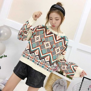 Autumn and winter 2021 loose Short Knitwear Korean Pullover round neck long sleeve diamond Plaid color matching sweater for women