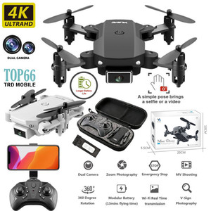 Folded 360 drones with 4k camera TOP66 360 HD Wide-Angle Cameras 2MP Wifi Fpv Drones Dual Cameras Height Keeping Droni With RC Quadcopter