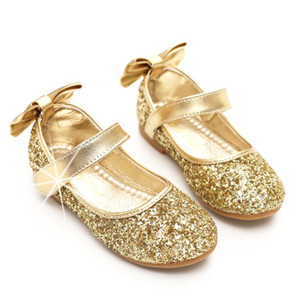 Kids Girls Pary Gold Silver bling shoes glittering sequins wedding formal leather shoes heel big butterfly bow shoes