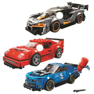 Speed Champions Senna F40 Competizione Camaro ZL1 Race Car Building Blocks Kits Bricks Classic Model Kids Toys For Children Gift Q1126