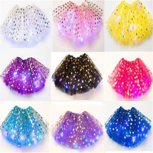 3-8Y Kızlar LED Tutu Etek Işık Aydınlık Bale Pettiskirt Mini Kısa Etekler Çocuklar Parti Dans Noktalar Tül Pileli Gazlu Tozlu Örgü Elbiseler LY122104
