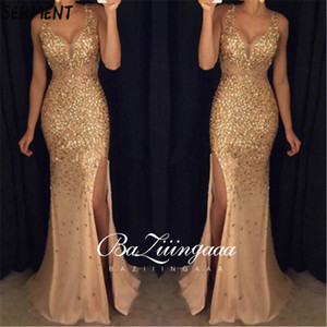 Vintage Split Sequined Dress Evening Dress Gold Sling for Prom Free Shipping Straight Mermaid Dress 201119