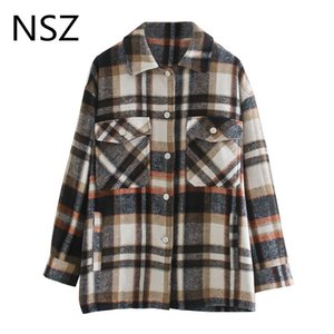 NSZ Women Oversized Plaid Wool Blend Shirt Jacket Long Sleeve Checked Coat Fall Fashion Loose Casual Ladies Overshirt Outerwear