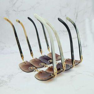 IENbel Lüks Kare Hakiki Buffalo Boynuz Gözlük Erkek Marka Tasarımcısı Güneş Gözlüğü Vintage Carter Buffs Çerçevesiz Carters Cam