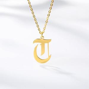 FactoryUQ9Kfor Letters Old 26 Necklace Pendant English Women Charm Jewelry Gold Choker A B C D E F G H I J K L M N O P Q