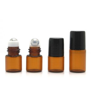 YTP142 1ML Ambre Clear Clear Bottle Verre vide Ambre Brown Couleur Rollon Métal Roller Ball Huile essentielle