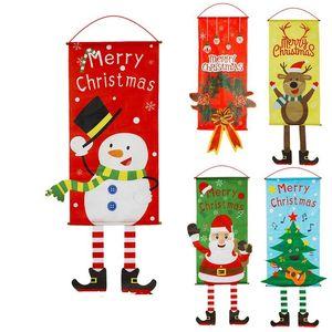 Diy Christmas Wall Hanging Living Room Xmas Santa Claus Snowman Stickers Window Showcase Glass Decor Wall Hanging Decorative