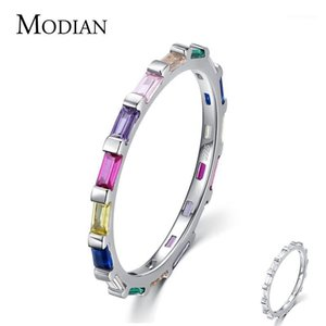 Modian Authentic 925 Sterling Silver Rainbow Cut Scutgange CZ Anillos de dedo Para Mujer Banda de Boda Compromiso Joyería1