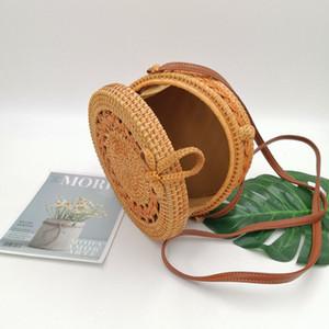 INS 20*8cm Women Handmade National Circular Rattan Crossbody Bag Summer Hollow Shoulder Bag Small Beach HandBags HHE3413