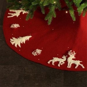 Knitted Christmas decoration tree skirt woolen tree bottom apron venue layout Christmas supplies three-dimensional elk