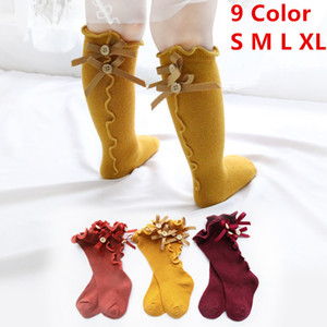 Children Solid Color Socks Baby Summer Bow Wooden Ear Lace Children Socks Soft Infant Casual Sock Knitted Knee High Long Soft Cotton ruffle