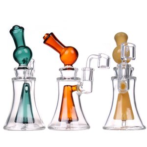 LIYA 2020 Unique Bongs 6.8 Inches Colorful Water Pipe Hookah Small Dab Rigs with Clear Quartz Banger