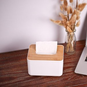 Modern Tissue Box Napkin Case Tissues Paper Roll Holder with Natural Bamboo Cover Plate Round Tissue Box for Home Office Hotel