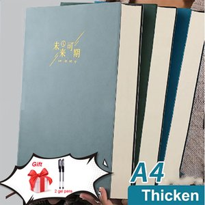 A4 Notebook Thick Book Super Thick Simple College Students Thick Ins Wind Large Retro Art And Fine Notepad Pocket Planner 400 Sheets